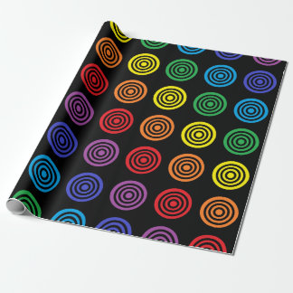 Rainbow Bullseye Black Wrapping Paper