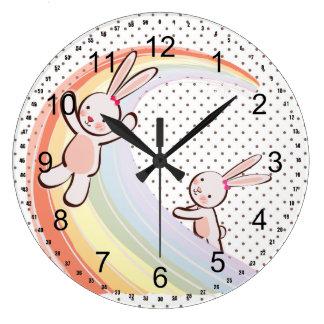 Rainbow Bunnies Large Clock