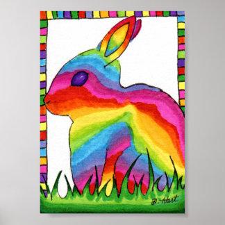 Rainbow Bunny Rabbit Mini Folk Art Poster