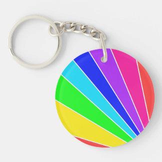 Rainbow Burst Double-Sided Round Acrylic Keychain