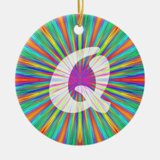 Rainbow Burst Monogram Q Ceramic Ornament