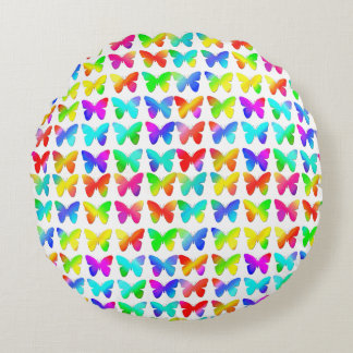 Rainbow Butterflies Round Pillow