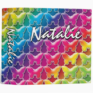 Rainbow Butterfly 80s style Binder 2 inch
