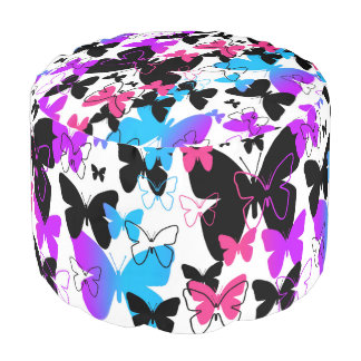 Rainbow Butterfly Abstract Multicolored Modern Art Pouf
