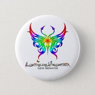 Rainbow butterfly button. 2 inch round button