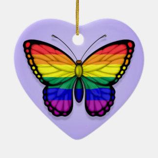 Rainbow Butterfly Gay Pride Flag on Purple Ceramic Heart Ornament