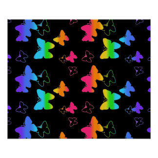 Rainbow Butterfly Girl Blacklight Florescent Neon Poster