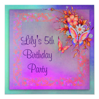 Rainbow Butterfly Girls 5th Birthday Party Card