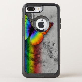 Rainbow Butterfly Gray Black Pattern Print OtterBox Commuter iPhone 8 Plus/7 Plus Case