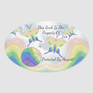 Rainbow  Butterfly Pentacle Bookplate Oval Sticker