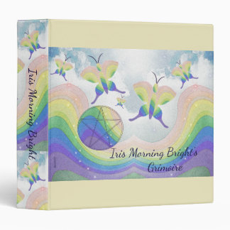 Rainbow Butterfly Pentacle BoS Med. Choose BG col 3 Ring Binder