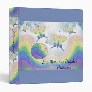Rainbow Butterfly Pentacle BoS Sml. Choose BG col Vinyl Binder