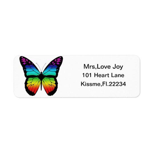 Rainbow Butterfly Rturn Address Lables