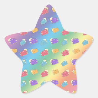 Rainbow cake pattern star sticker