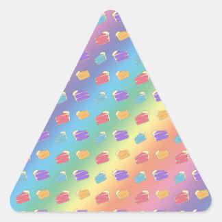 Rainbow cake pattern triangle sticker
