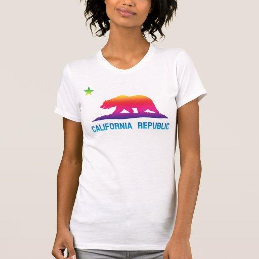 Rainbow California Republic Flag Tee Shirts