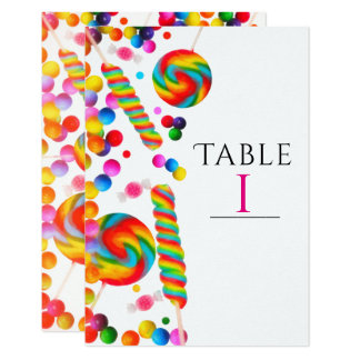 Rainbow Candy Birthday Party Table Number Card