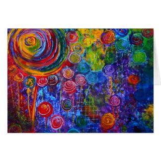Rainbow Candy Colorful Swirls Card
