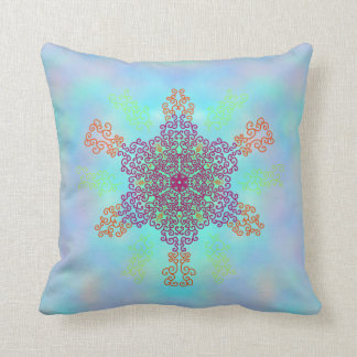 Rainbow Candy Mandala Throw Pillow