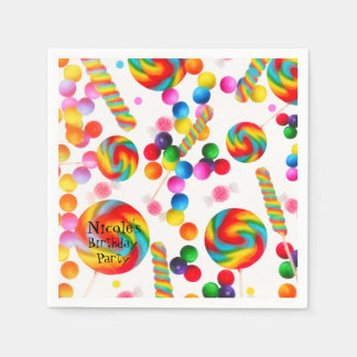 Rainbow Candy Sweet Birthday Party Candyland Paper Napkin