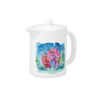 Rainbow castle fantasy watercolor illustration