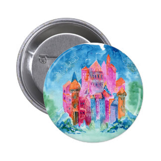 Rainbow castle fantasy watercolor illustration 2 inch round button