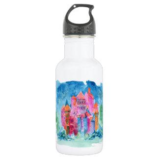 Rainbow castle fantasy watercolor illustration 532 ml water bottle