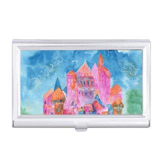 Rainbow castle fantasy watercolor illustration business card cases