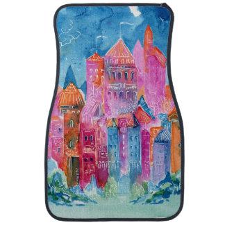 Rainbow castle fantasy watercolor illustration car mat