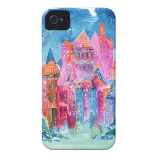 Rainbow castle fantasy watercolor illustration Case-Mate iPhone 4 case