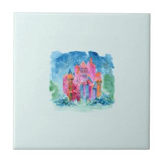 Rainbow castle fantasy watercolor illustration ceramic tiles