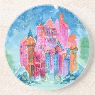 Rainbow castle fantasy watercolor illustration coaster
