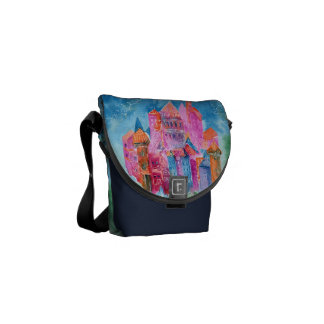 Rainbow castle fantasy watercolor illustration commuter bag