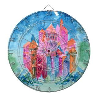 Rainbow castle fantasy watercolor illustration dartboard