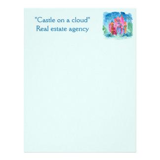 Rainbow castle fantasy watercolor illustration personalized letterhead