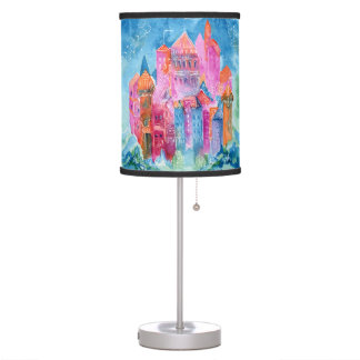 Rainbow castle fantasy watercolor illustration table lamp