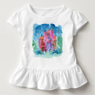 Rainbow castle fantasy watercolor illustration toddler t-shirt