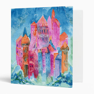 Rainbow castle fantasy watercolor illustration vinyl binders