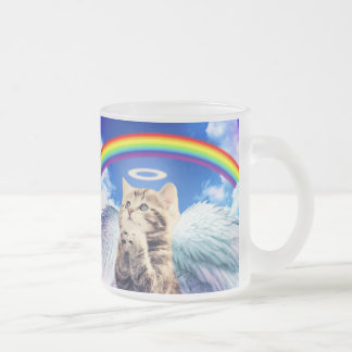 rainbow cat - cat praying - cat - cute cats frosted glass coffee mug