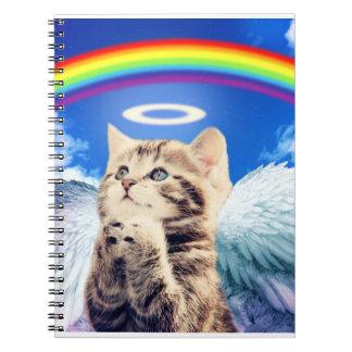 rainbow cat - cat praying - cat - cute cats spiral note book