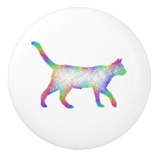 Rainbow cat ceramic knob