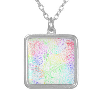 Rainbow Cat Fur Silver Plated Necklace