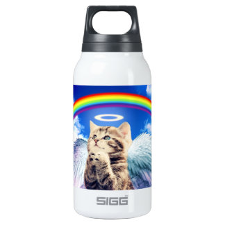 rainbow cat insulated water bottle