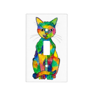 Rainbow Cat Light Switch Cover