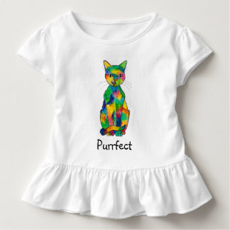 Rainbow Cat Purrfect Toddler Ruffle T-Shirt