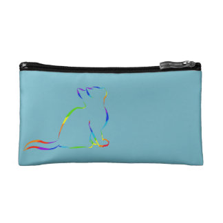 Rainbow cat silhouette / black cat, white fill makeup bag
