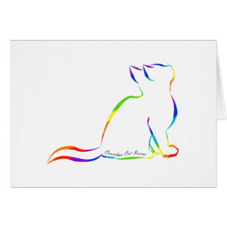 Rainbow cat silhouette, inside text card