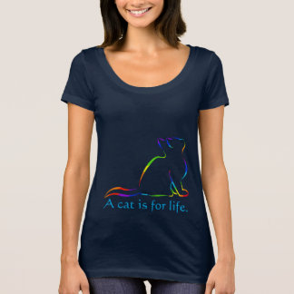 Rainbow cat silhouette, inside text - Cat for life T-Shirt