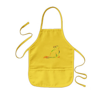 Rainbow cat silhouette, inside text kids apron