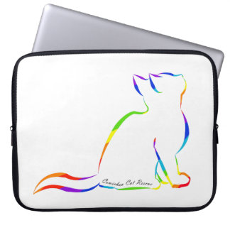 Rainbow cat silhouette, inside text laptop sleeve